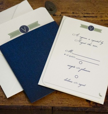 Navy and sage green beach inspired pocket wedding invitations