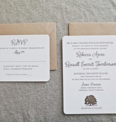 Oak Tree Rustic Wedding Invitation Charleston, SC