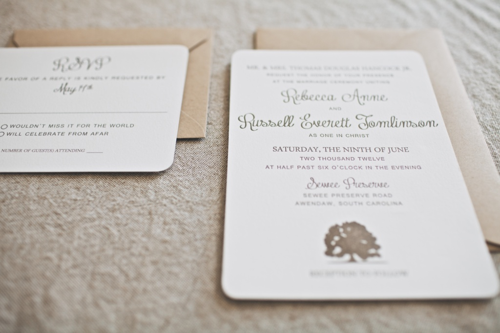 Oak Tree Rustic Wedding Invitation Charleston, SC