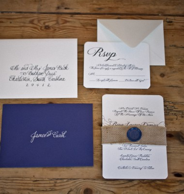 The navy inner envelope ivory outer envelope set it off perfectly