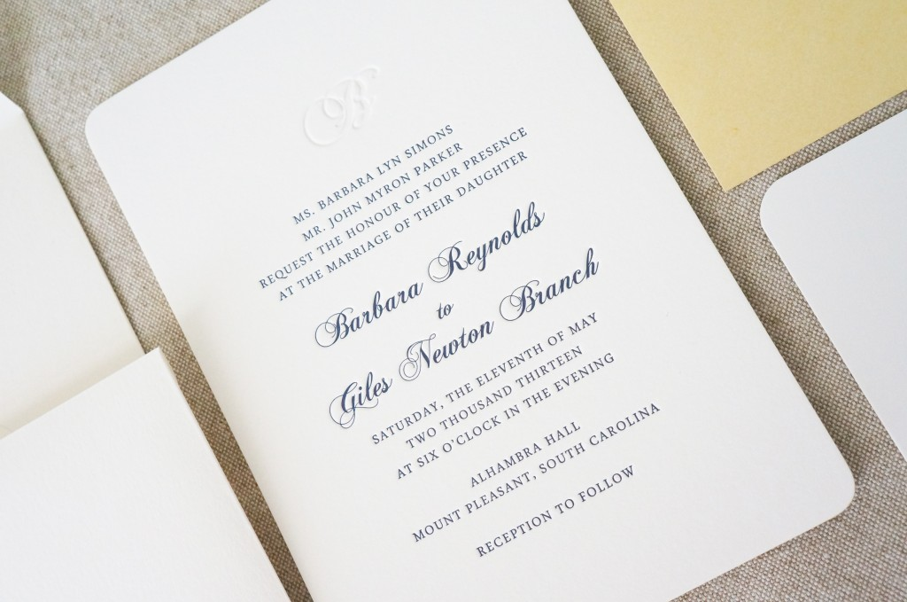 monogram wedding invitation navy dodeline charleston sc,
