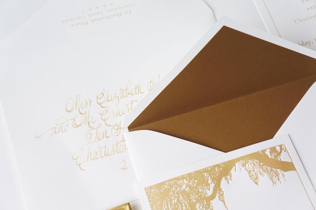 timeless gold charleston invitations