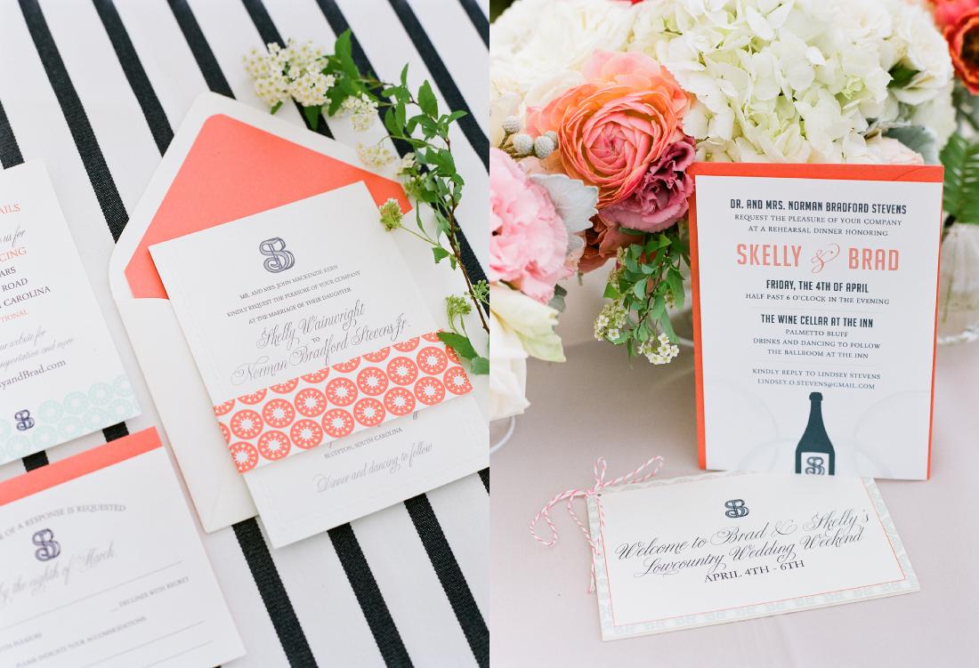 mint and coral wedding invitation for palmetto bluff