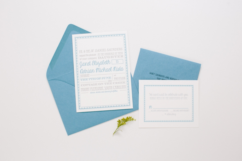 modern blue typography invitations
