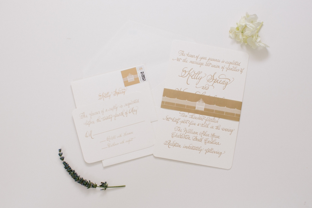 gold calligraphy invitation for william aiken wedding