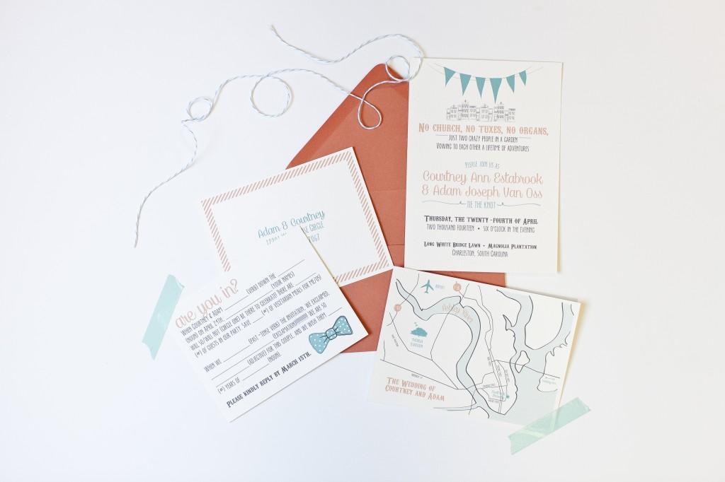casual coral wedding invitations