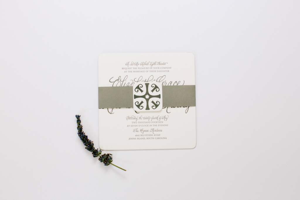 gorgeous gray calligraphy invite