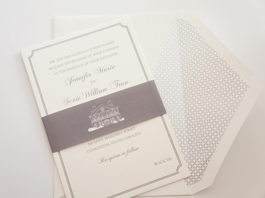 gray letterpress invitation
