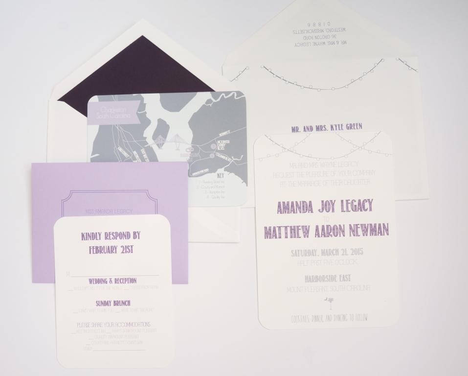 purple string lights wedding invitation