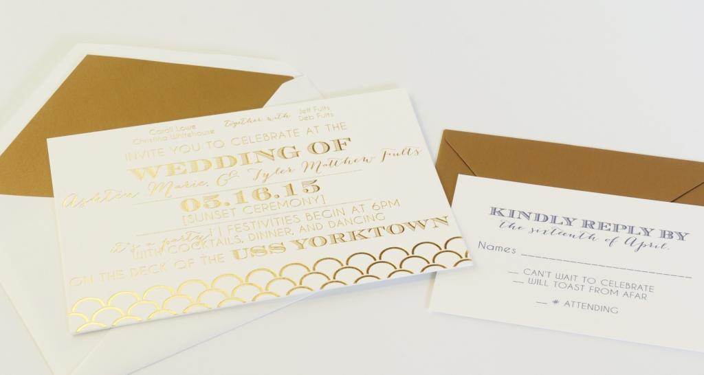 fun gold foil invitation