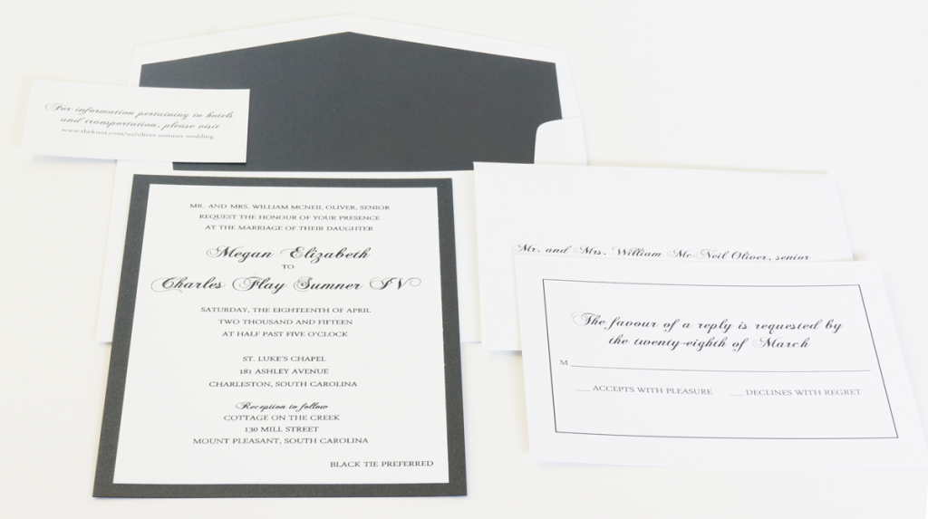 black and white thermography invitations