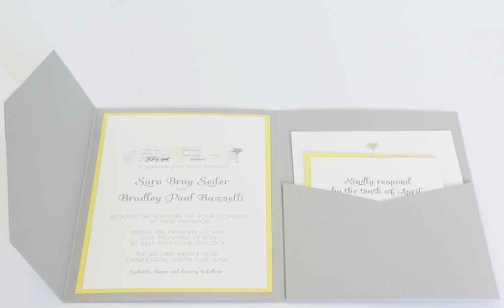 yellow and gray pocket invitation