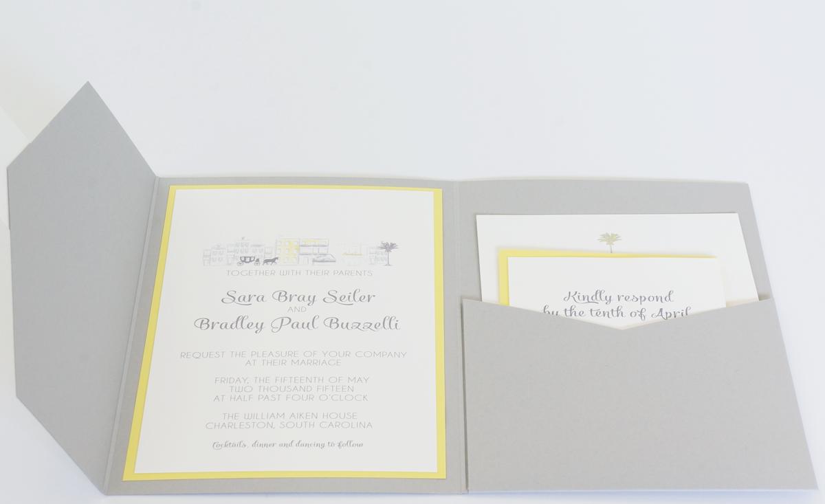 yellow and gray pocket invitation