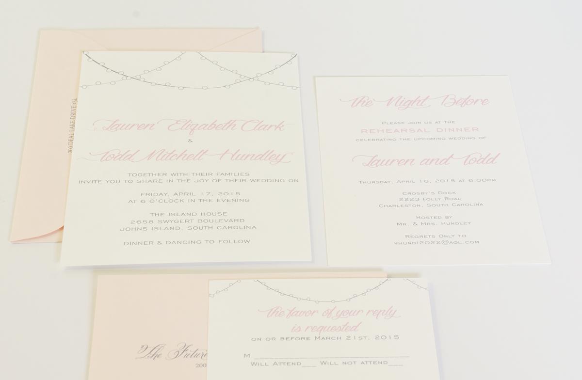 cafe lights wedding invitation