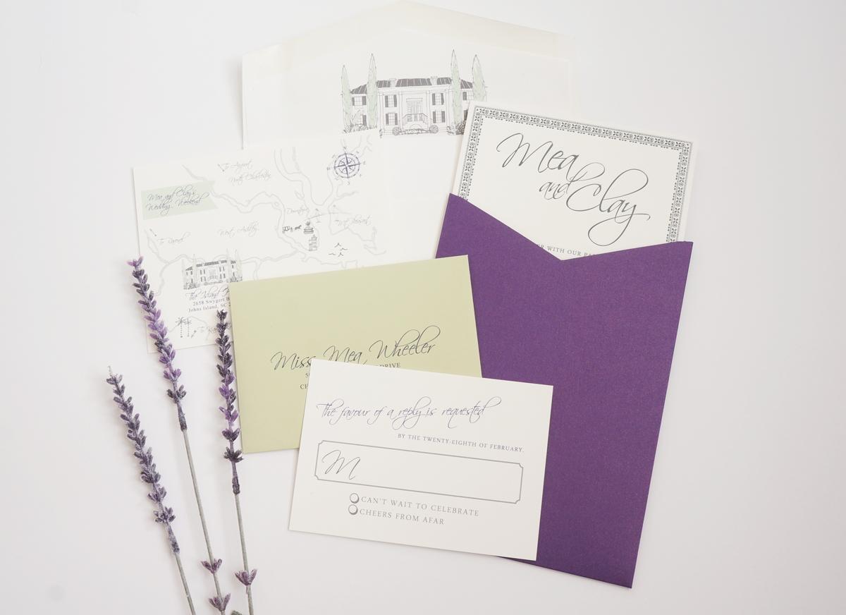 island house wedding invitation