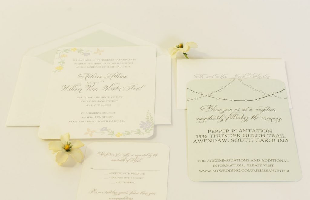 mint green spring wedding invitation