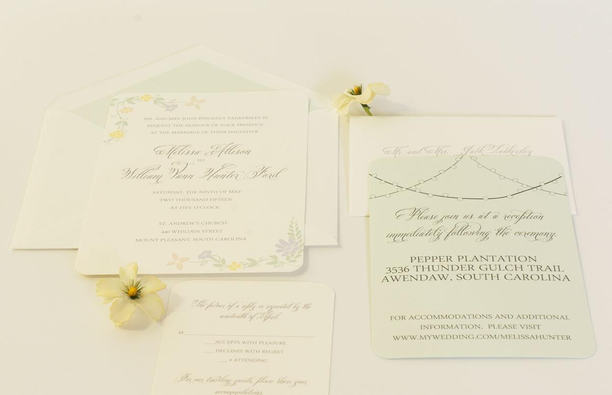 mint green spring wedding invitation