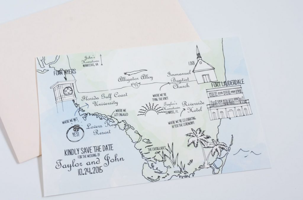 map save the date for a Florida wedding
