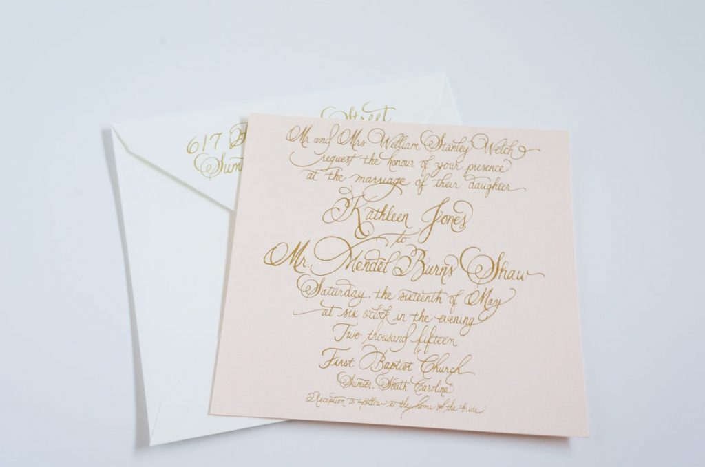 blush and gold foil invitation