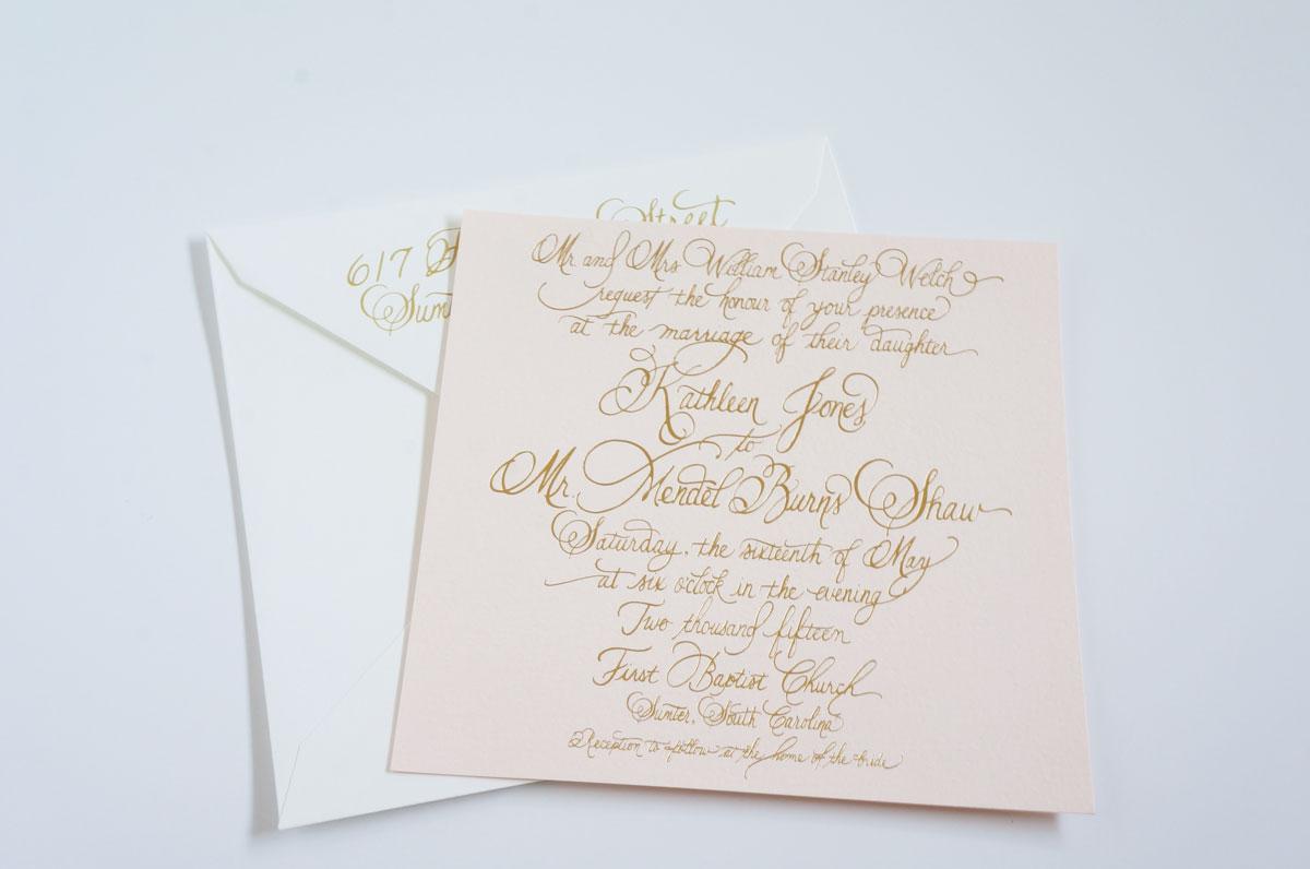 blush and gold foil invitation