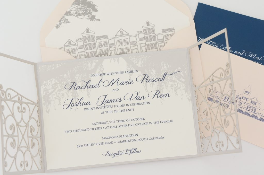 magnolia plantation wedding invitation