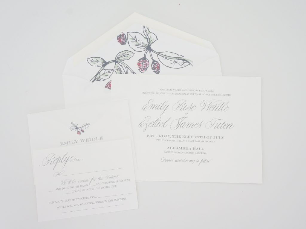 raspberry wedding invitation