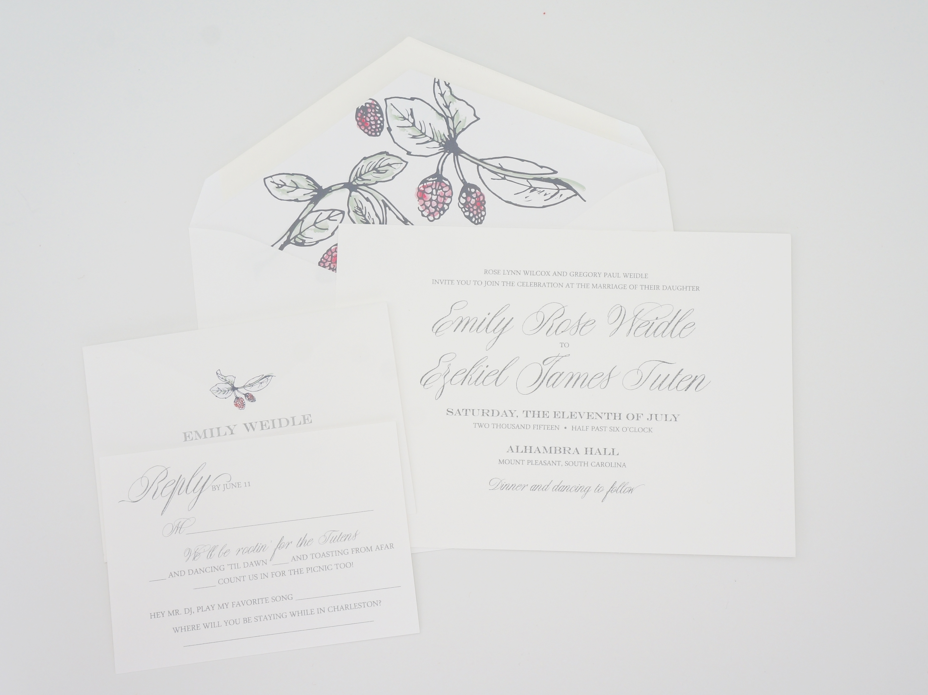 raspberry wedding invitation