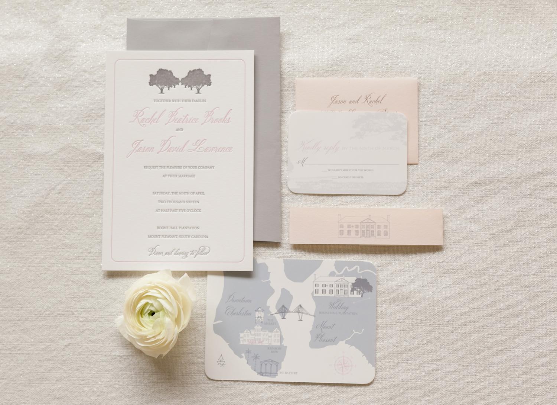 boone hall wedding invitation