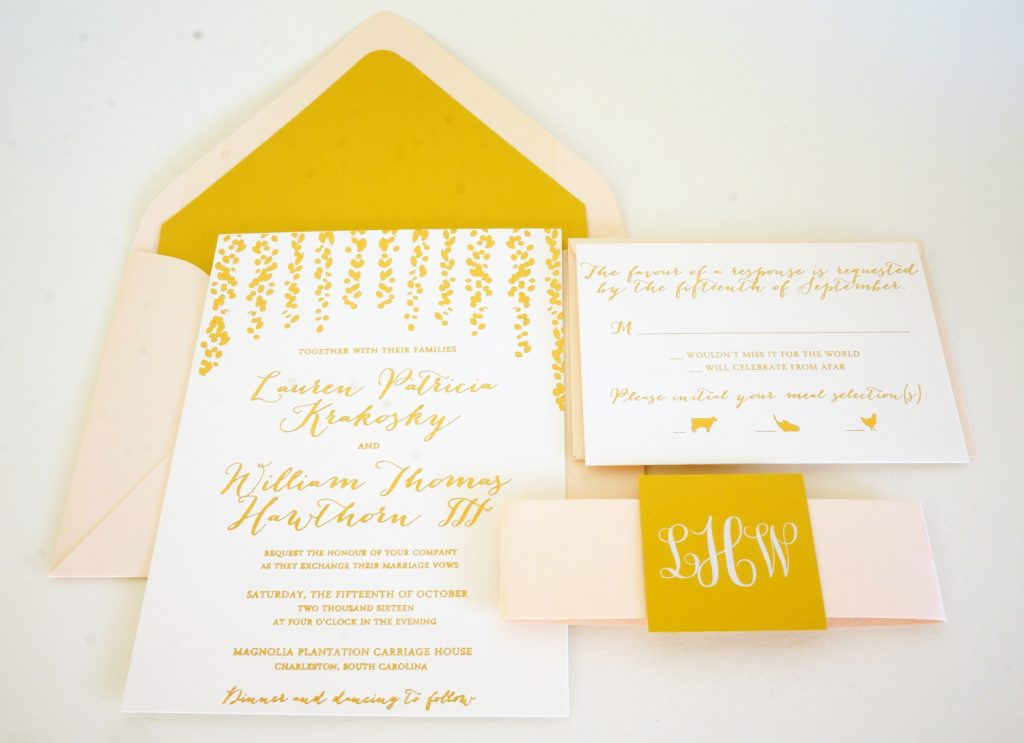 cascading gold foil invitation