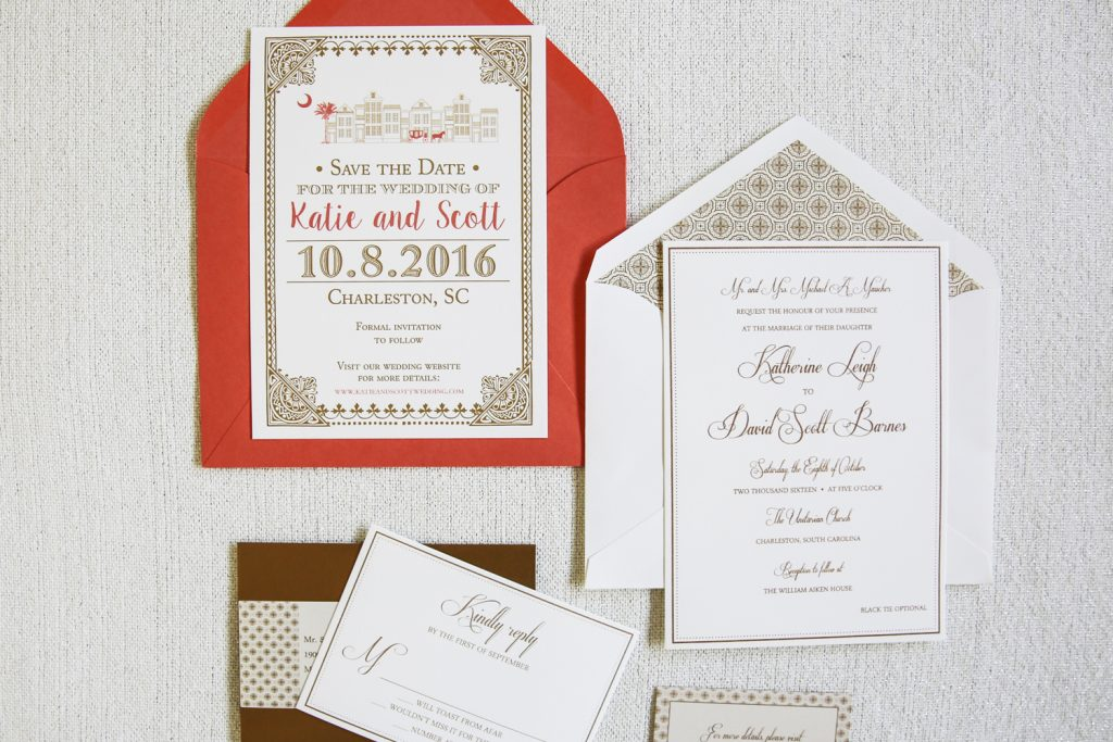 gold and coral wedding invitation suite