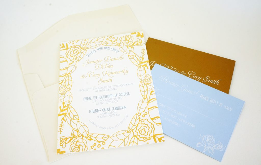 gold flower invitation