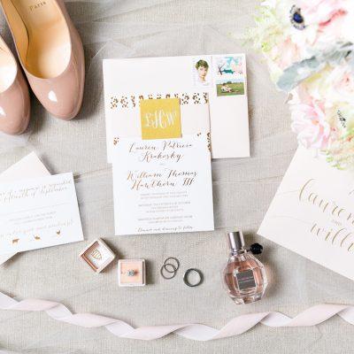cascading gold foil invitation