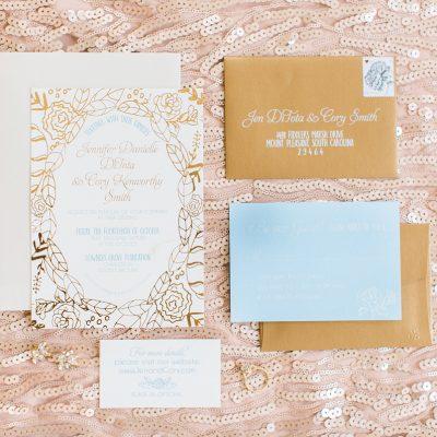 gold flower invitation