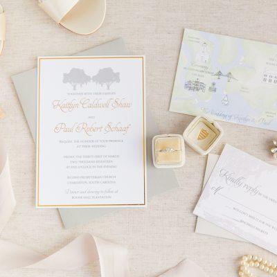 gold foil oak tree invitation