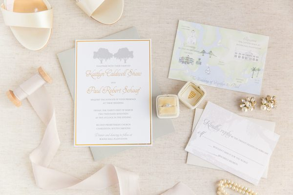 gold foil oak tree invitation