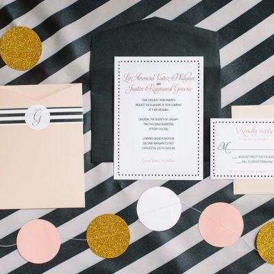 preppy wedding invitation