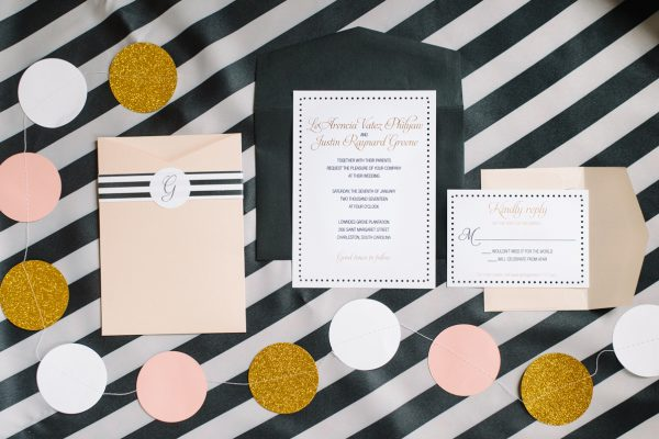 preppy wedding invitation