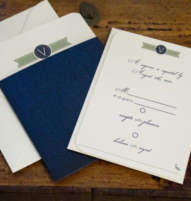 Navy And Green Beach Wedding Invitation