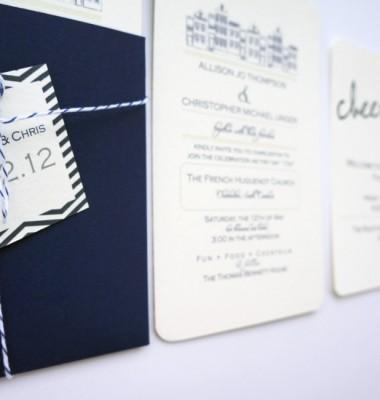 Navy Chevron Wedding Invitation by Dodeline Design