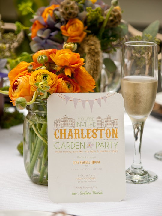 Garden Party Wedding Invitation Charleston South Carolina