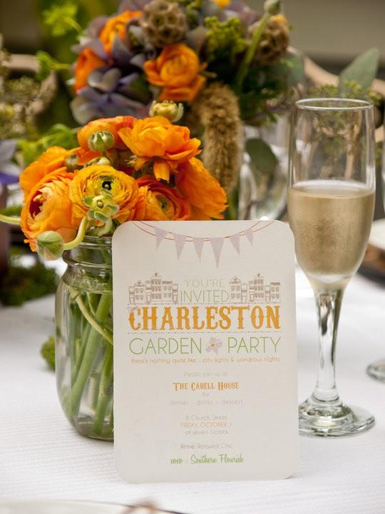 Garden Party Wedding Invitation Charleston, South Carolina