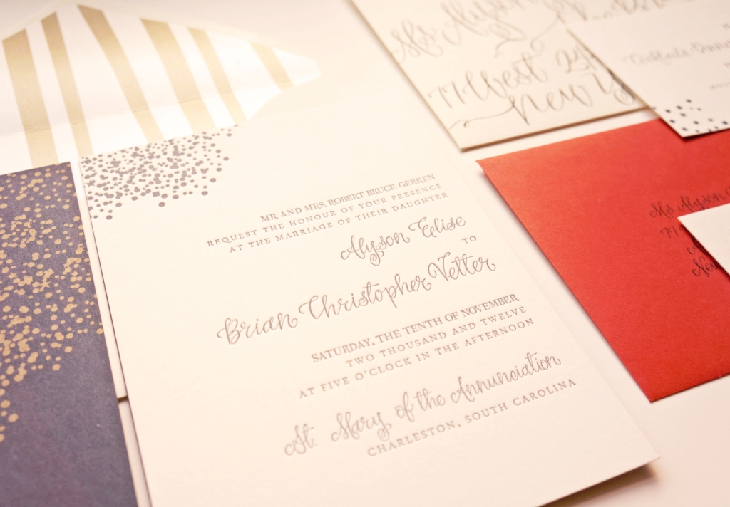 Confetti Wedding Invitation with Navy and Red by Dodeline