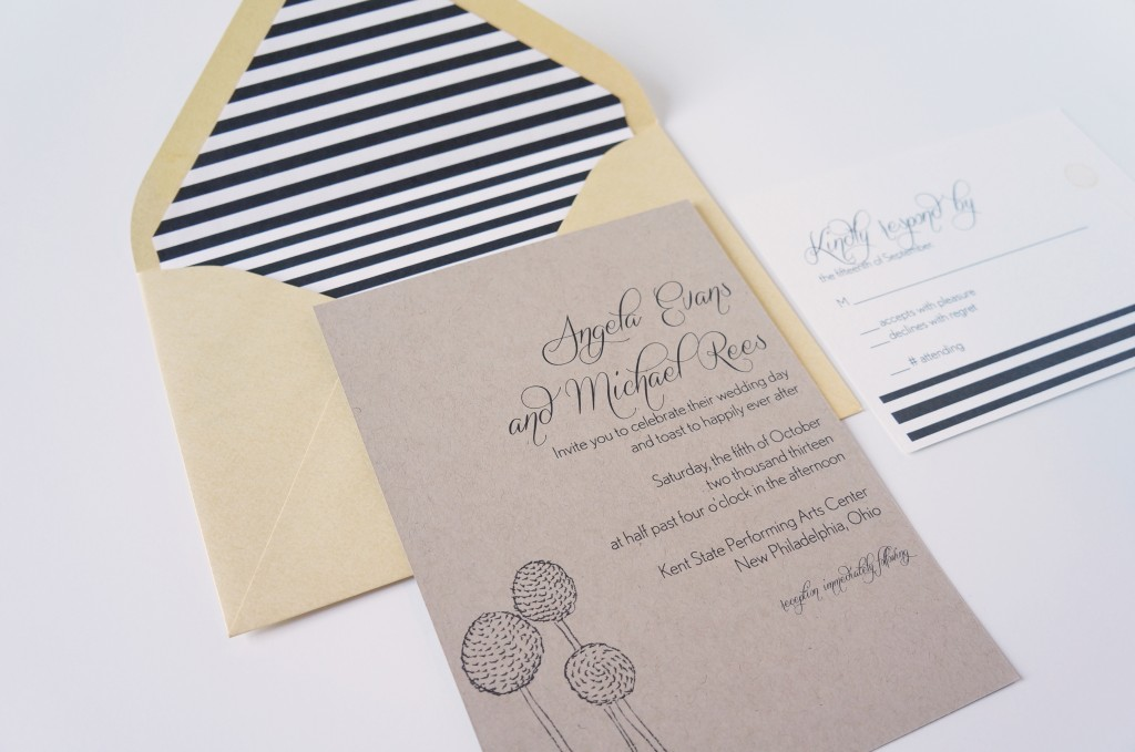 Kraft Wedding Invitation Modern Style Black and White Stripe