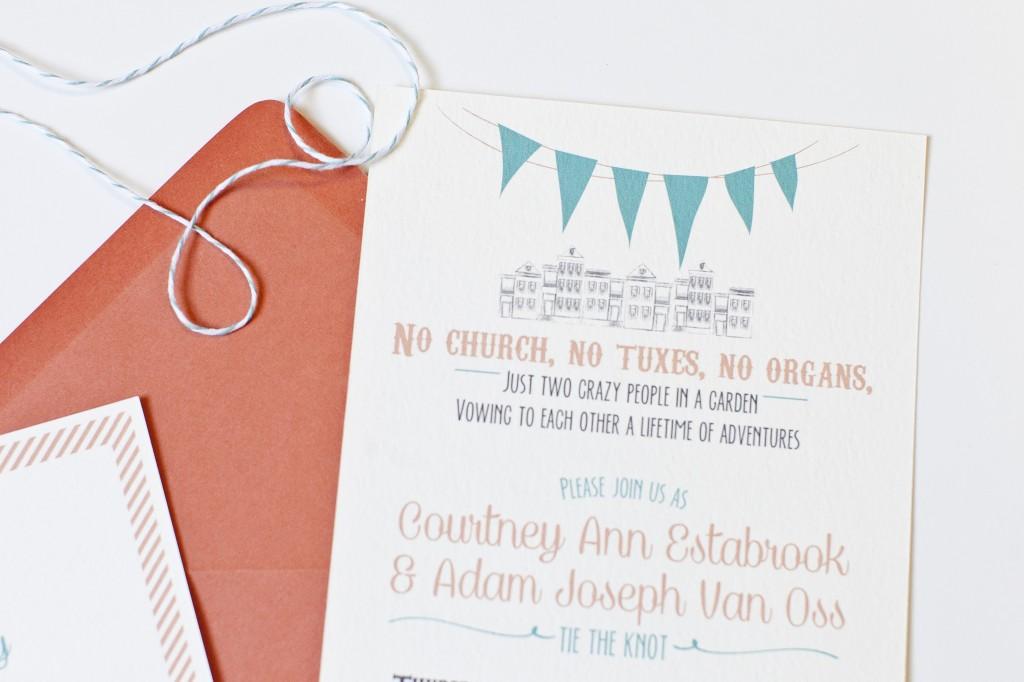Coral Wedding Invitations Casual Picnic Outdoor Wedding
