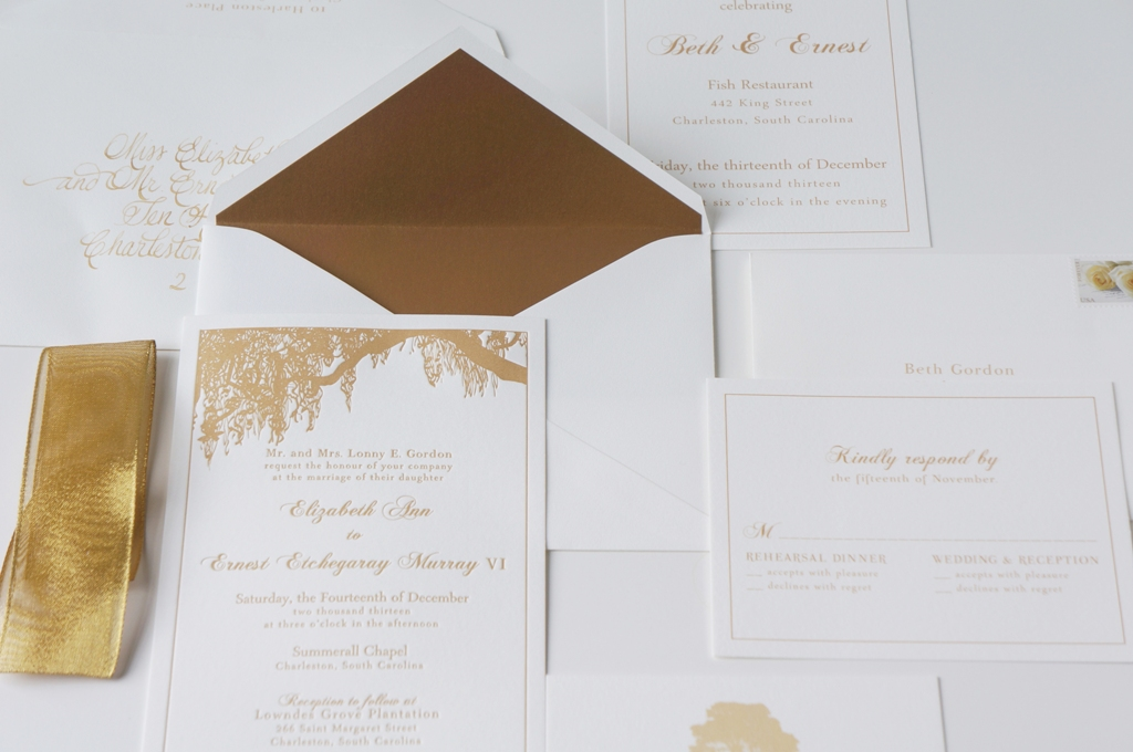 Charleston Invitation with Oak Tree and Gold Dodeline Design