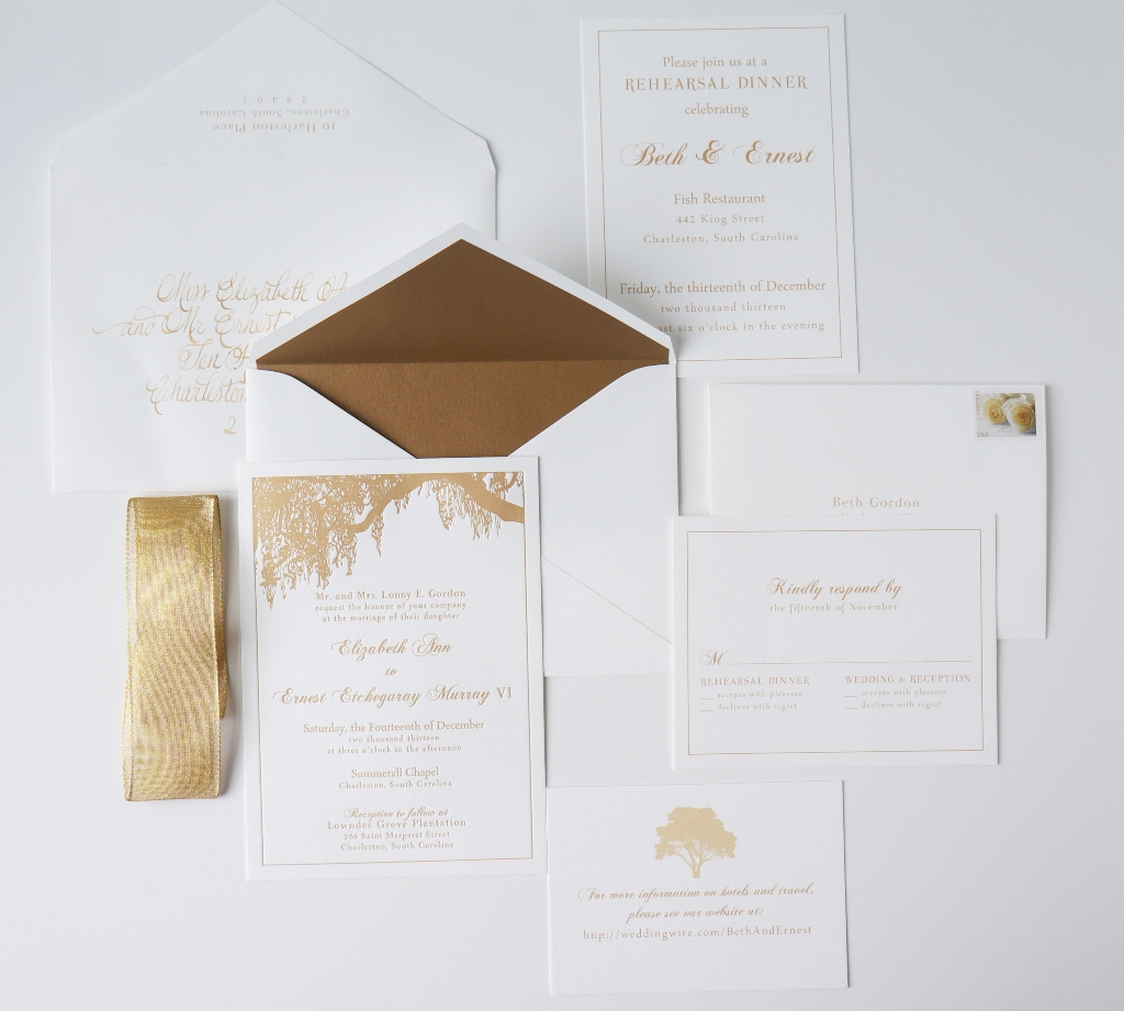 Charleston Invitation with Oak Tree and Gold Dodeline Design