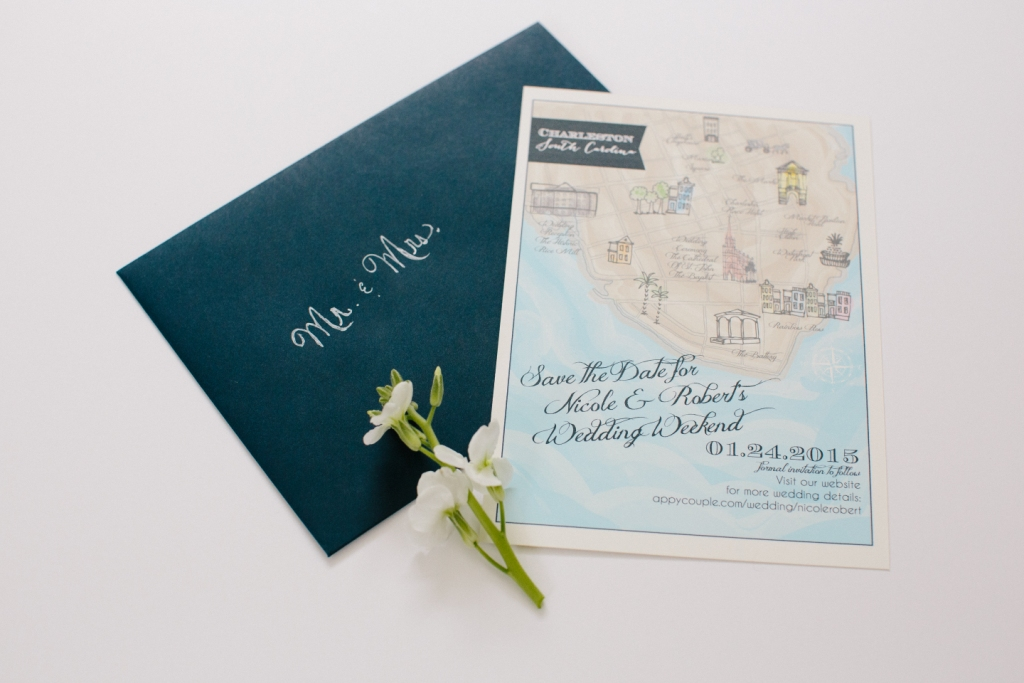 watercolor wedding map save the date charleston sc dodeline