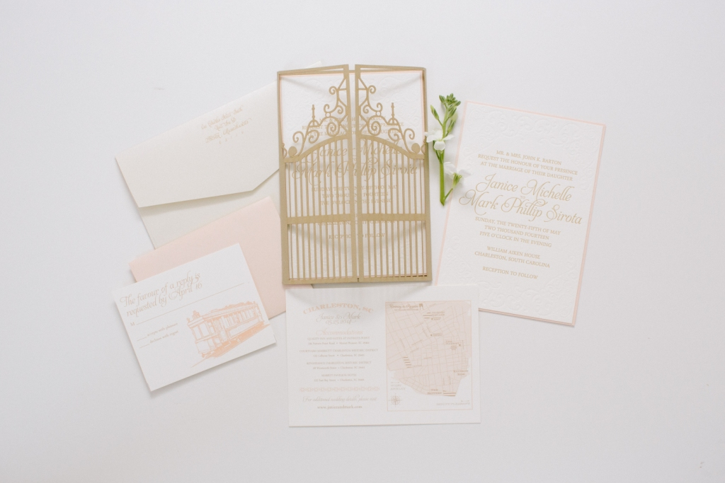 gate wedding invitation - Blush Wedding Invitations