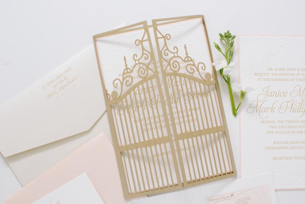 Gate Wedding Invitation Laser Cut In Blush And Gold Dodeline