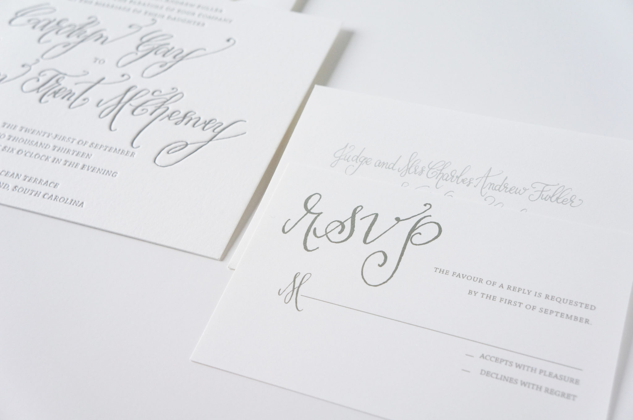 Modern calligraphy invitation suite seabrook island wedding